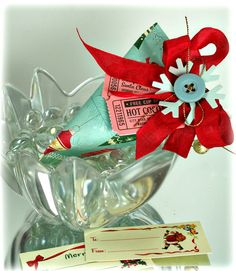 """Home made sour cream containers from a 4-1/4"""" by 5-1/2"""" piece of scrap paper are perfect for little goodies for the office or neighbor or for stocking stuffers."""
