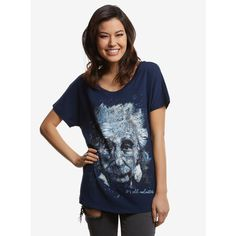 Albert Einstein It's All Relative Scribble Womens Tee ($22) ❤ liked on Polyvore featuring tops, t-shirts, tees, women, blue tee, blue t shirt and blue top