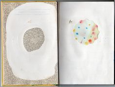 repurposed vintage cookbook as sketchbook; gesso, pencil and paint; collage materials from Vesna Radivojevic.