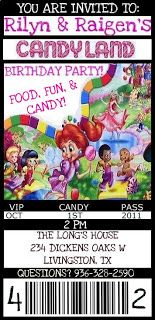 candy land birthday invitation | The Longs: CANDYLAND THEMED BIRTHDAY INVITAITONS...