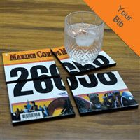 So cool!!!!  Just scan you race bib to the company and they;ll reproduce it on 4 coasters!  I so want to do this after finishing my first half marathon!!!hese coasters make a unique gift for your favorite runner!