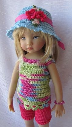 "Hand Knit Doll Outfit Set for  Doll 13"" Diana Effner"