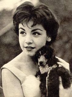 Annette Funicello at 16 in 1959 with her poodle friend