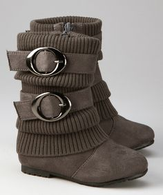 Gray Sweater-Cuff Double-Buckle Boot | Anna Shoes