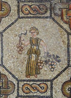 Roman mosaic showing the personification of a season: Autumn from Aquileia