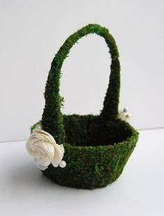 Moss Flower Girl Basket With Ivory Buds And Berries. $21.00, via Etsy.