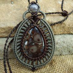Macrame Necklace Pendant Cabochon Turritella Agate Waxed Cord Hemp Handmade #Handmade #Pendant