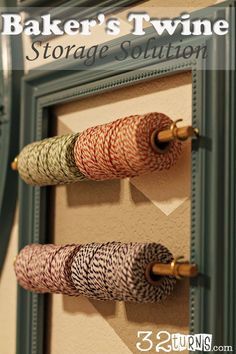 Baker's Twine Solution, great way to store it and pretty too! Perfect for my craft room.
