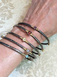 Vintage STERLING GEMStONE BANGLES Traditional Indian signed textured Silver genuine assorted Gem Bangles Gorgeous Stacking Sold Individually