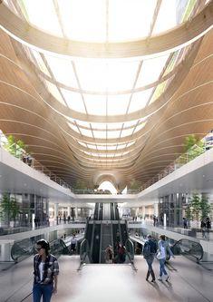 Gangnam Intermodal Transit Center by Kohn Pedersen Fox (KPF) Futuristic Architecture, Facade Architecture, Concept Architecture, Architecture Portfolio, Atrium Design, Roof Design, Mall Design, Studio Design, Skyline Design