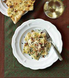 pear & pecorino ravioli with walnuts, inspired by lidia bastianich, williams & sonoma