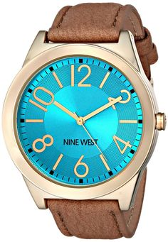 Nine West Women's NW/1660TQCM Turquoise Dial Tan Leather Strap Watch *** Check out the watch by visiting the link.