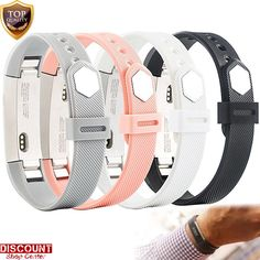 For Fitbit Alta Bands 4 Pcs Bracelet Wristband Secure Silicone Band Small New #Unbranded