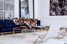 7 Instant Pick-Me-Ups For Your Home// Modern living room with tufted sofa and furry blanket, The Apartment Living Room Sofa, Living Room Decor, Living Spaces, Living Rooms, Blue Tufted Sofa, Navy Sofa, Contemporary Sofa, Modern Sofa, Home And Living