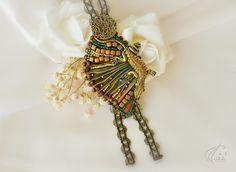 Unique shibori necklace with lizard ooak http://etsy.me/2HEQMDK