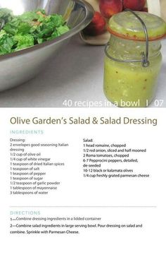 Olive garden salad dressing, Just made this, and it tasted EXACTLY the same. I made 1/4 of the recipe and it was just enough for a bag of lettuce.