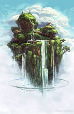 Waterfall Island by Risachantag on deviantART @@@@@..........http://es.pinterest.com/lapompadourprod/fake-worlds/