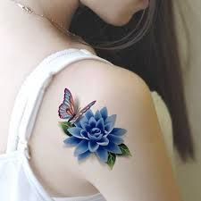 Image result for small flower and butterfly coloured tattoos