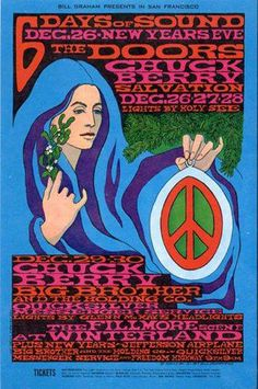 Chuck Berry, The Doors, Big Brother and the Holding Company, Quicksilver Messenger Service, Jefferson Airplane at the Winterland Arena, 1967. By Bonnie MacLean.  Thanks for sharing, Professor Poster.