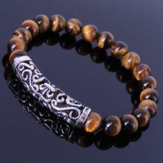 Handmade Men Women Gemstone Bracelet Brown Tiger Eye by DiyNotion