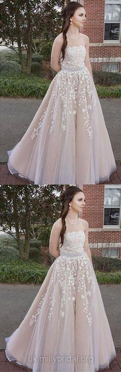 Long Prom Dresses Modest, Pearl Pink Prom Dresses 2018, Princesses Evening Dresses for Teens, Lace Graduation Dresses Open Back #pinkdress