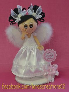 Fofucha Angel Doll Centerpiece by LarasCreationsShop on Etsy Baptism Decorations, Baby Girl Baptism, Foam Crafts, Cold Porcelain, First Birthdays, Paper Art, Centerpieces, Projects To Try, Crafty