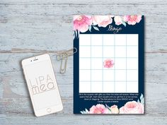 Bridal Shower Bingo Printable Floral Bridal Shower by lipamea