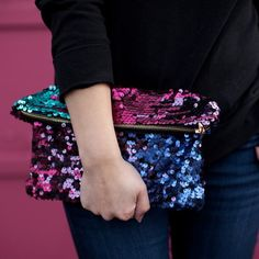 This gorgeous multi colored sequin clutch adds the perfect pop of sparkle to any look! Great for gifting Gold zipper closure x Imported Diy Clutch, Clutch Bag, Leather Clutch, Handbags On Sale, Purses And Handbags, Fashion Fabric, Fashion Bags, Sequin Crafts, Custom Purses