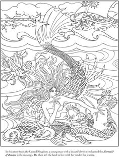 Welcome to Dover Publications -Mythical Mermaids Coloring Book Mermaid Coloring Book, Coloring Book Pages, Printable Coloring Pages, Coloring Sheets, Colouring Sheets For Adults, Dover Publications, Colorful Pictures, Line Art, Paper Cutting