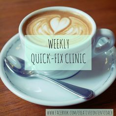"Every Tuesday at 11am over on www.facebook.com/creativecontentcoach, there's a #quickfixclinic to solve all your small business and freelancing problems! Come and say hi - or ""help me!"" :D"