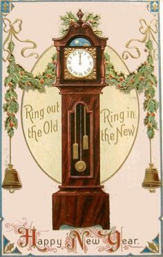 Vintage New Year Postcard of old grandfather clock. Vintage Happy New Year, Happy New Year Cards, New Year Greeting Cards, New Year Greetings, Christmas Gift Tags, Vintage Christmas Cards, Vintage Holiday, Christmas Toys, Victorian Christmas