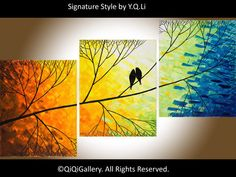 "48"" Original  large Abstract Painting Landscape Painting Impasto Painting Tree Birds Painting Wall Decor ""Beautiful Day"" by QIQIGALLERY on Etsy, $295.00"