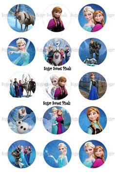 Frozen Inspired 1 inch circle Digital Bottlecap Images | SugarSweetPixels - Digital Art  on ArtFire