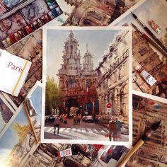 Tatiana Borischenko L'Église Sainte-Trinite, PARIS watercolour #arttati #artttati #paris #watercolor #watercolour Paris, Saint, Big Ben, Louvre, Urban, Watercolor, Building, Instagram Posts, Travel