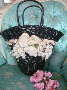 Vintage Wicker Purse Sewing Basket Millinery Flowers Pink Velvet Ribbon