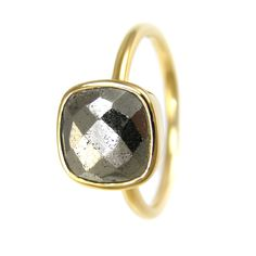 Pyrite Cushion Stackable Ring