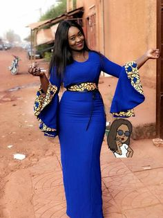 royal blue dress with high-waisted yellow arabesque belt, African clothing, double-sided flared wide sleeves, with gold-colored arabesques African Fashion Ankara, Latest African Fashion Dresses, African Print Dresses, African Print Fashion, Africa Fashion, African Dress, African Prints, Ghanaian Fashion, Nigerian Fashion