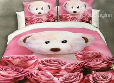 Lovely Bear Doll and Rose Print 4-Piece Polyester Duvet Cover #3d #bedding #bedroom