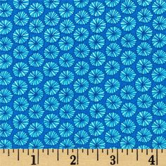Robert+Kaufman+In+the+Bloom+Circle+Blooms+Turquoise from @fabricdotcom  Designed+by+Valori+Wells+for+Robert+Kaufman,+this+cotton+print+fabric+is+perfect+for+quilting,+apparel+and+home+decor+accents.+Colors+include+royal+blue+and+turquoise.++