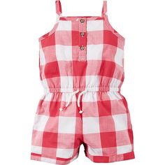 Carter's Tank Romper, Red Gingham, 9 Months ($15) ❤ liked on Polyvore featuring jumpsuits, rompers, carters rompers, carters romper, red rompers, red romper and playsuit romper