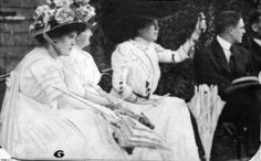 """This is my absolute favorite family picture. My Grandmother, Helen Brown Benziger is far left. Margaret is the one holding the parasol. I believe this was taken in Newport where she has a small 43 room """"cottage"""" . She named it... Mon Etui. -Helen Benziger"""