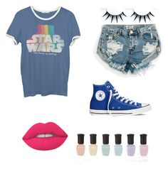 """""""Star war"""" by robbin-ii ❤ liked on Polyvore featuring One Teaspoon, Junk Food Clothing, Converse, Lime Crime and Deborah Lippmann"""