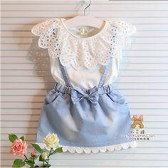 2014 summer female children's wear short sleeve T-shirt coat denim vest skirt false two-piece connects body skirt US $13.40