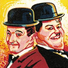 Laurel & Hardy Portraits Created from Thousands of Jelly Beans