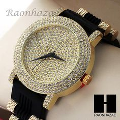 Men LIL WAYNE Hip Hop Iced Out Bling Diamond Rapper's Black Silicone Watch 202