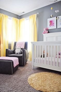 Yellow curtains - grey nursery - dabs of pink - Valspar wall paper color. Awesome room, no?  #nursery #valspar #curtains