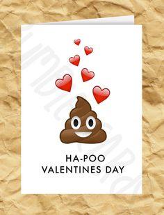 Ha-Poo Valentines Day - Poop Emoji Valentines Day Card