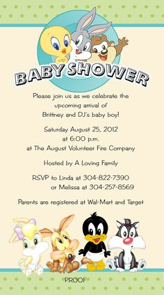 Baby Looney Toons Invitations Tiny Toons by DesignsbySuzan on Etsy, $0.50