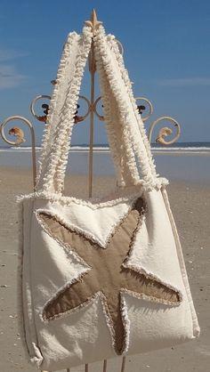 Sea Beach Bag - Starfish Khaki on Ivory