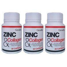 Giffarine Zinc And Collagen ซิงก์ แอนด์ คอลลาเจน อาหารเสริม บำรุง ผม เล็บ ลดสิว  3 ชิ้น